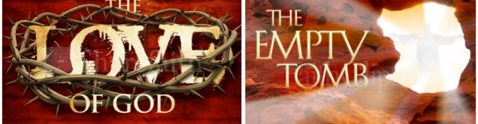 Empty tomb and crown of thorns